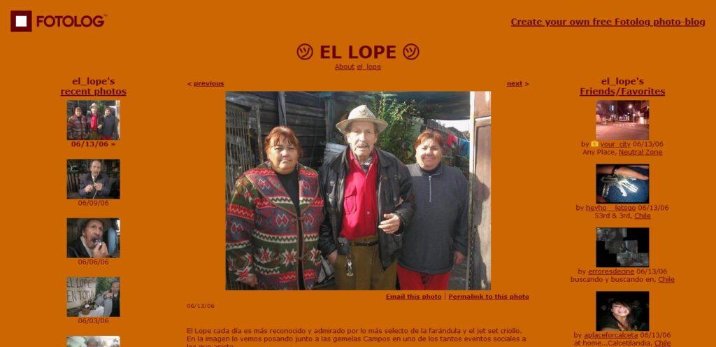 Captura de pantalla del Fotolog de El Lope