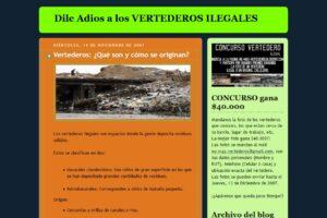 "Captura de pantalla del blog ""Dile adiós a los vertederos ilegales"""